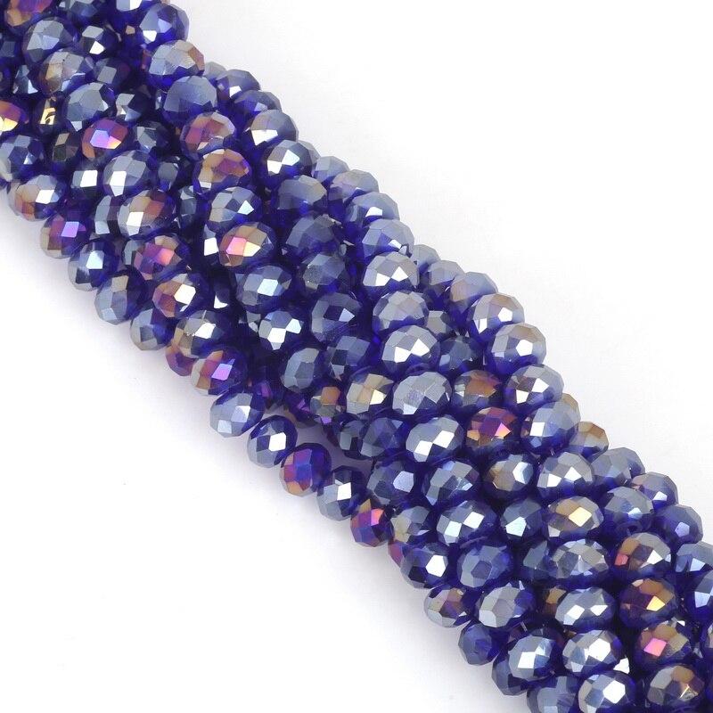 2, 3, 4, 6, 8 мм около 70-195 шт хрустальные бусины AB разноцветные стеклянные бусины Sapcer для изготовления ювелирных изделий DIY браслет ручной работы оптом - Цвет: Dark Blue