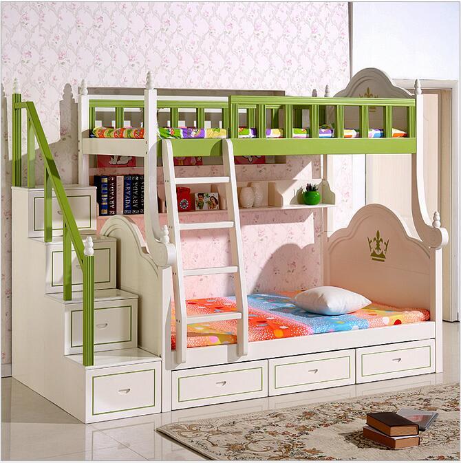 European Bunk Bed Pine Wooden Ladder Ark Cabinet Bed