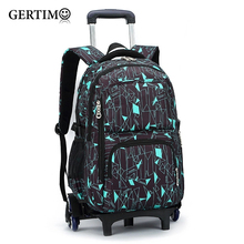 Latest Removable Children School Bags With 6 Wheels Stairs Kids Boys Girls Trolley Schoolbag Luggage Book Wheeled Backpack