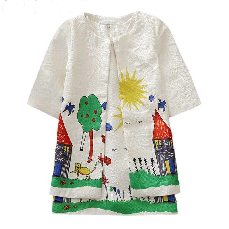 Girls Set Children Clothing 2017 Brand Girls Tracksuit Kids Clothes Graffiti Print Toddler Girls Clothing Sets Jacket+Dress