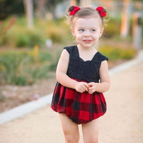 Pudcoco Cotton Newborn Kids Baby Girls Plaid   Romper   Red Black color infant baby girls Jumpsuit Clothes Outfit 0-24M