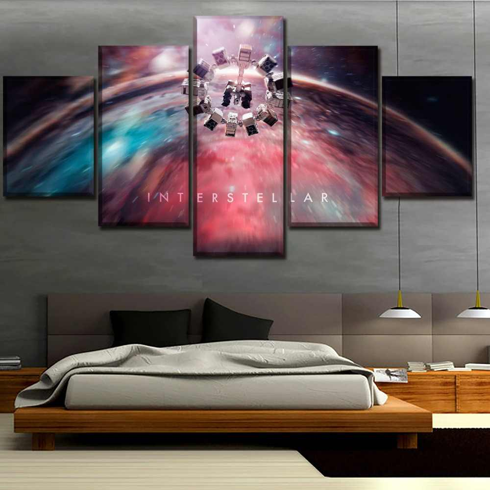 Canvas Printed Poster 5 Pieces Movie Interstellar Space Wall Art Modular Painting Home Decorative Living Room Artwork Decorative