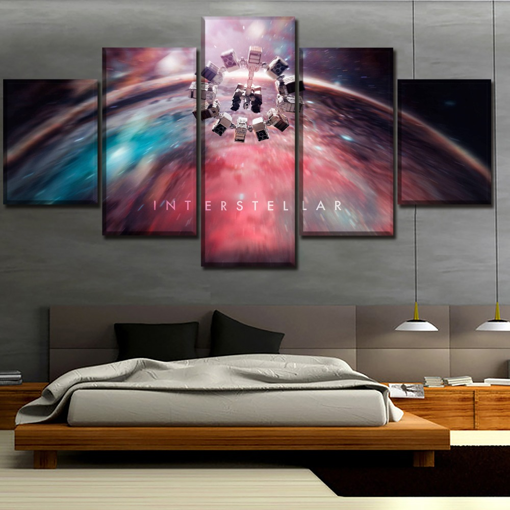 Us 6 05 45 Off Canvas Printed Poster 5 Pieces Movie Interstellar E Wall Art Modular Painting Home Decorative Living Room Artwork In