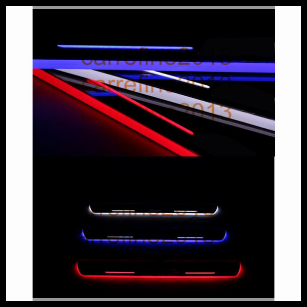 ФОТО 2pcs/lot car styling led door sill car door welcome light moving scuff plate led light for bmw f10 f18