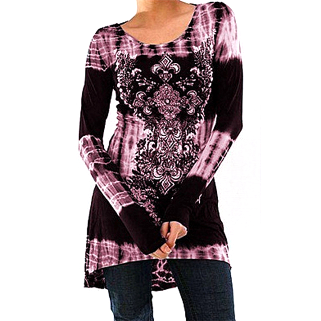 Vintage Floral Printed Women Tunic Tops Plus Size 3XL 4XL Casual Loose Long Sleeve Ladies Tops Blouse Shirt Blusas Femininas 2
