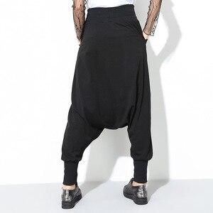 Image 2 - [EAM] 2020 Spring New Fashion Black Solid Drawstring Pockets Causal Loose Big Size Women High Waist Harem Pants RA224