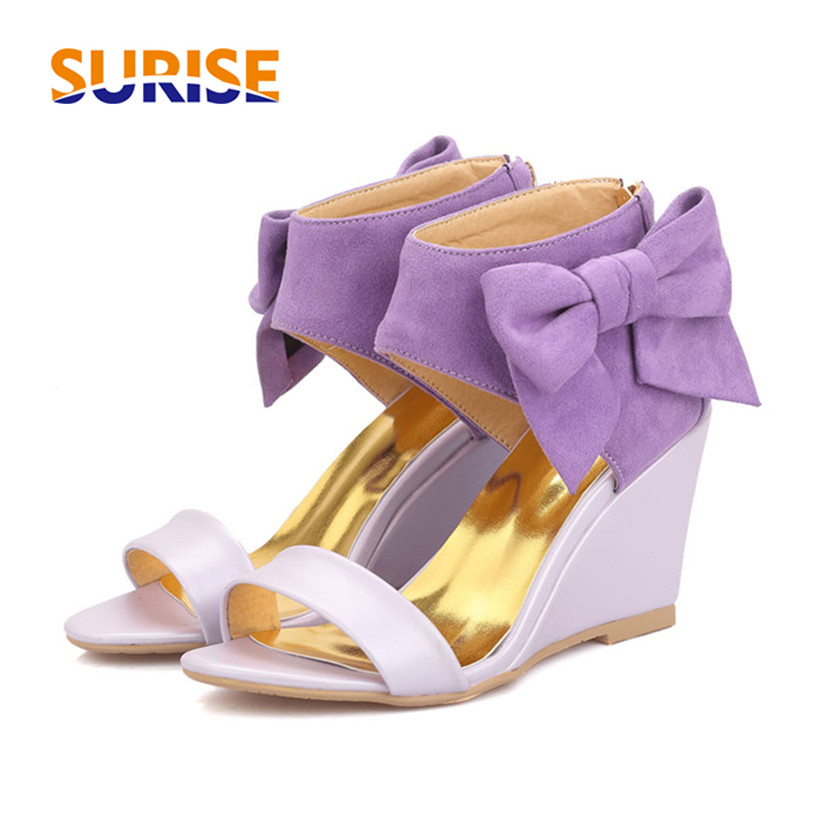 Big Size Summer Bow Flock Women Sandals High Wedge Heels Open Toe Casual Party Office Pink Bowtie Ankle Wrap Zipper Lady SandalsBig Size Summer Bow Flock Women Sandals High Wedge Heels Open Toe Casual Party Office Pink Bowtie Ankle Wrap Zipper Lady Sandals