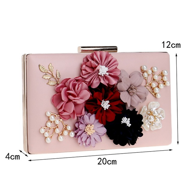 Women's Fashionable Flower Beaded Small Clutch Evening Bag