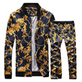 2016 New Male sweatshirt set Autumn Slim Stand Collar Jacket Male Fashion Pattern Print Casual  Set For singer dancer nightclub