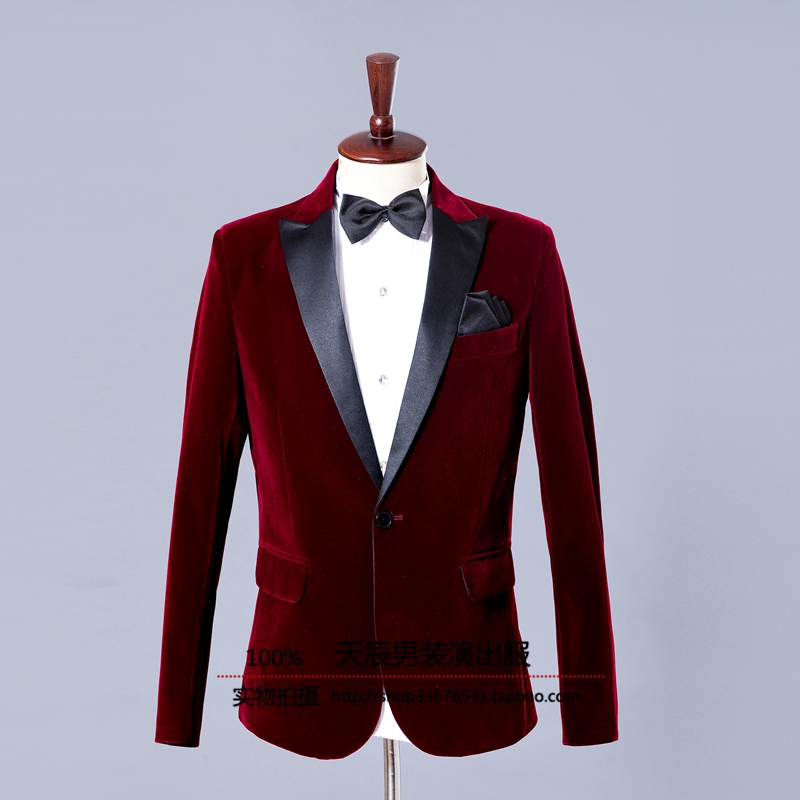 M-XL!!! 2018 Mens casual dress Host suit Wine red velveteen sapphire business attire The singers clothing