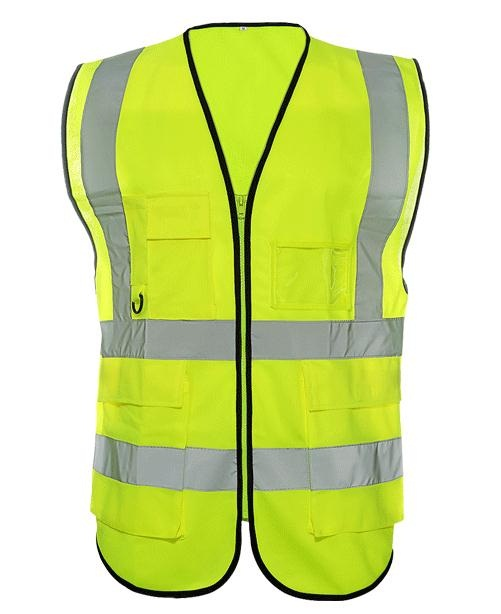High visibility European and American standards Class 2 High light Chemical Fabric tape reflective safety vest with many pockets fluorescence yellow high visibility
