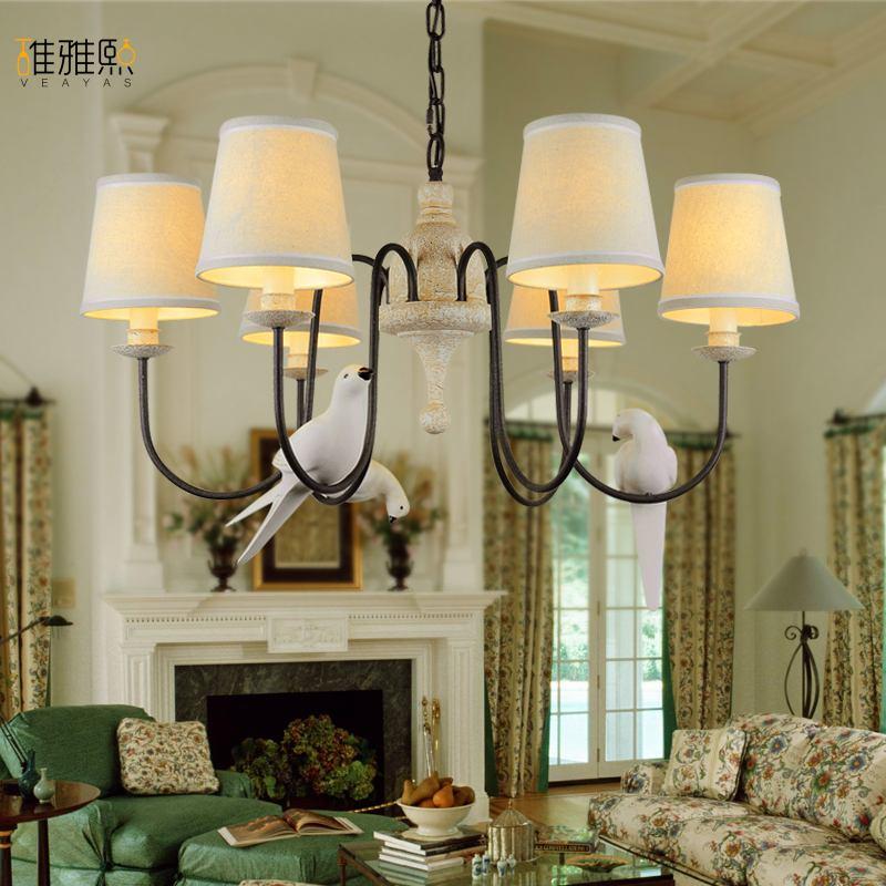Лофт Творческий lightsFabric абажур картина люстра гладить старинные лампы люстры американский стиль внутреннего освещения приспособление