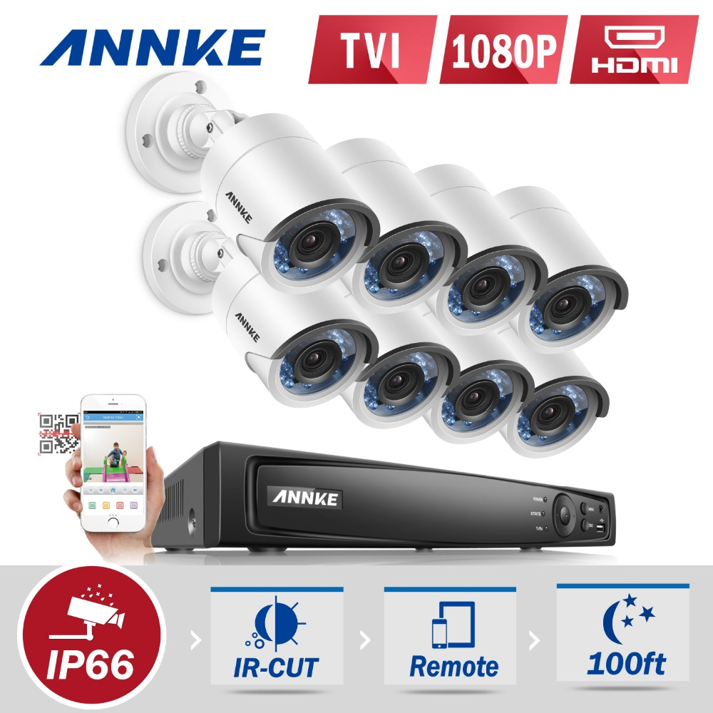 ANNKE 8CH 1080P HD CCTV DVR System 8PCS 2.0MP 1080P TVI Security Cameras IR Outdoor 8 Channels CCTV Video Surveillance kit