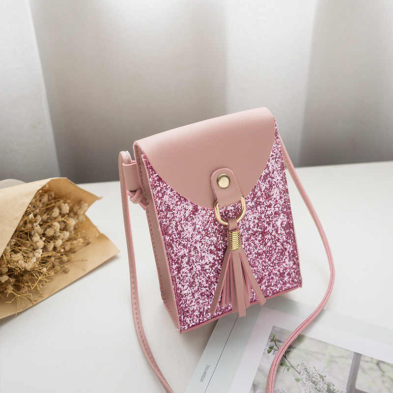 2019 Fishion Women Small Pink Cute Shoulder Bag Girl  Tassel Mini  Solid Color Glossy Handbag  Crossbody