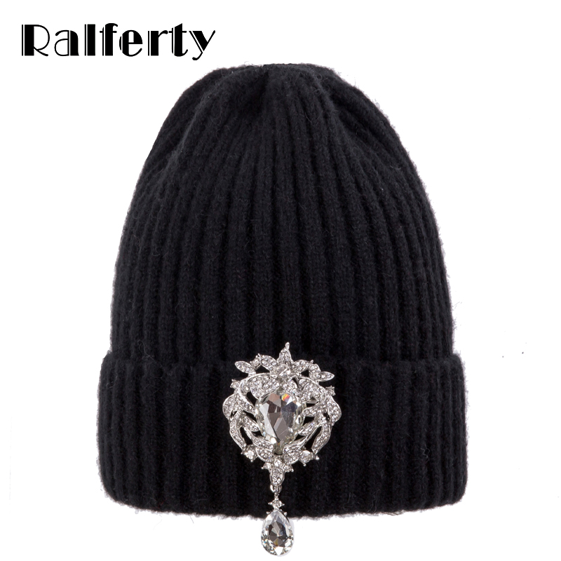 Ralferty Knitted Winter Hat Women   Skullies     Beanies   Ladies Luxury Crystal Hats Cap Autumn Warm Skull   beanie   Black bonnet femme
