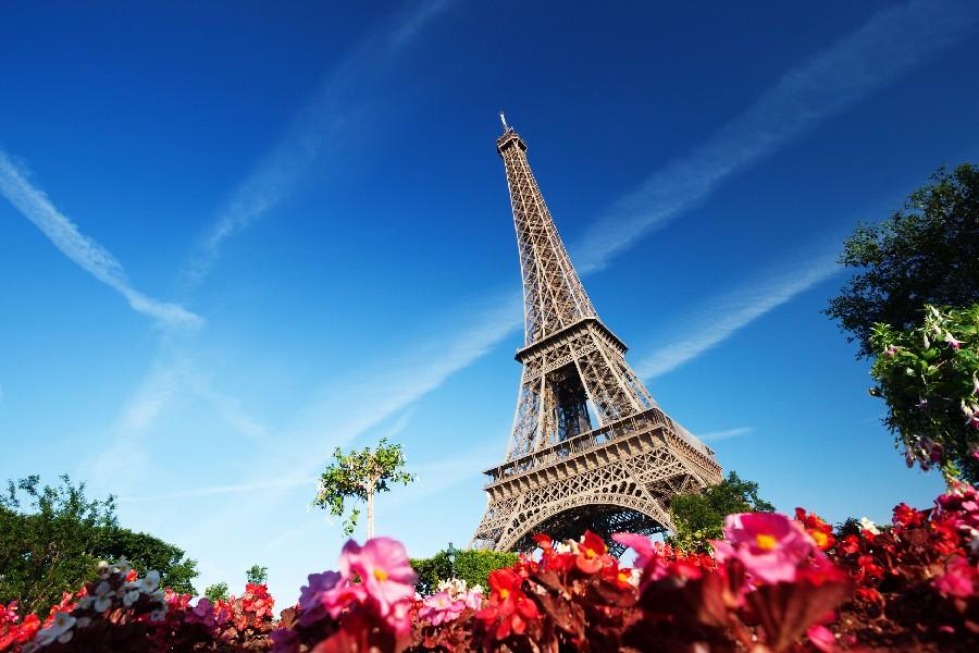 ⑦DIY marco ciudad de París Torre Eiffel, cielo, flores paisaje ...
