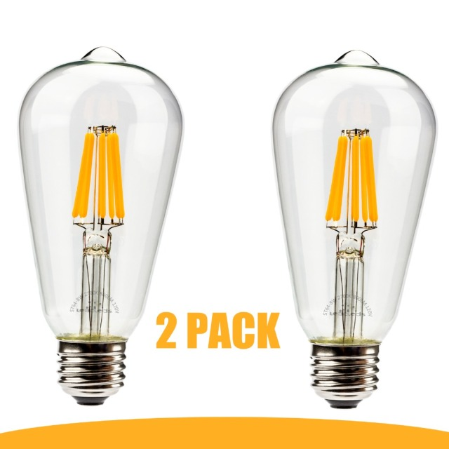 2 Pcs E27 Led Filament Bulb Dimamable Clear Glass 8W Edison Light Bulbs For  Indoor Vintage