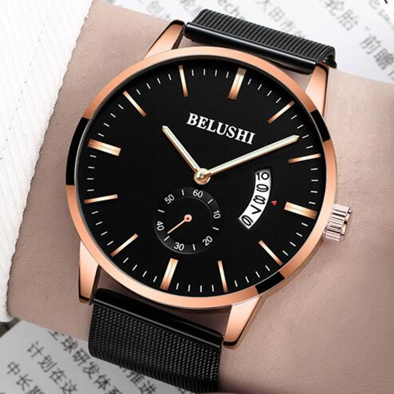 New Watch Men 2018 Brand Luxury Waterproof Ultra Thin Date Clock Male Steel Strap Casual Quartz Watch Men Wrist Sport Watches wwoor waterproof ultra thin date clock male stainess steel strap casual quartz watch men wrist sport watch 3 colors