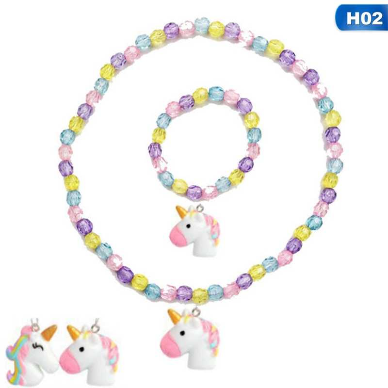 1PC Chunky Bubblegum Beads Baby Cute Unicorn Pendant Necklaces Adjust Rope Chain For Children Girls Chain Jewelry Gift