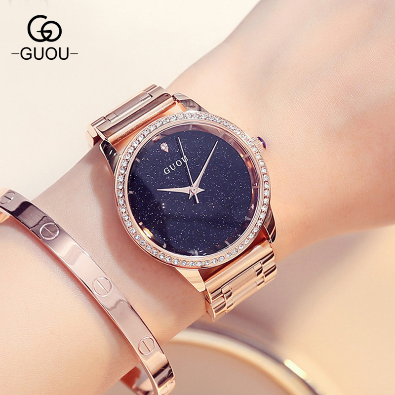 GUOU HK Brand Crystal Quartz Lady Watch Rhinestone Waterproof Women's Watch Stainless Steel Luxury Gift Wristwatches GU003 hk guou brand quartz lady watch rhinestone waterproof women s watch genuine leather upscale large dial luxury gift wristwatches