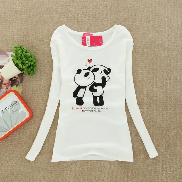 1c05b444 W12 Free shipping Women Long Sleeve T-shirt Women's Panda Lovers Print T  Shirts Lady's Tops