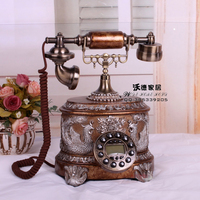 The new European antique landline retro classic vintage fashion telephone Decoration home art rustic phone household backlit