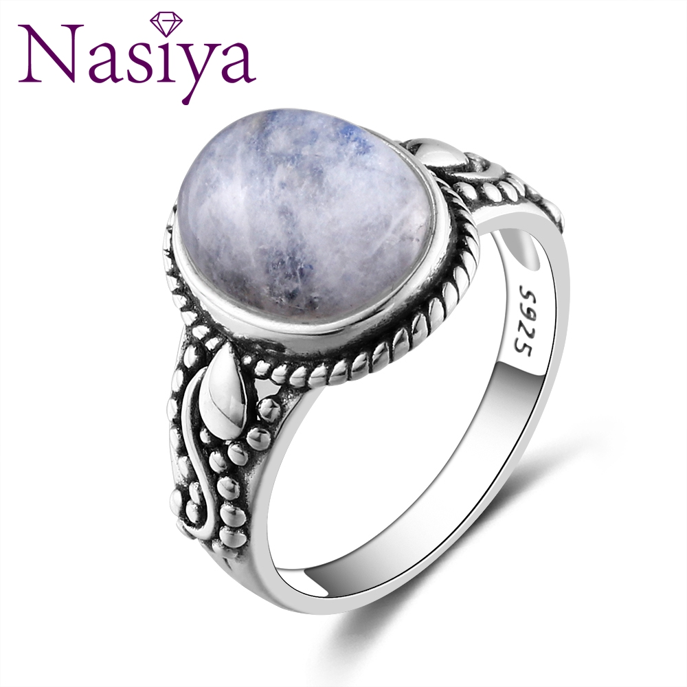 New Fashion Oval High Quality Natural Moonstones Rings For Men Women 925 Silver Trendy Jewelry Wholesale Dropshiping Gifts