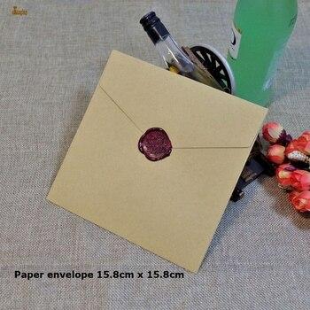 50 pçs/lote 15.8/12.7 /10 cm quadrado kraft multicolorido convite comum papel decorativo casamento envelope atacado frete grátis