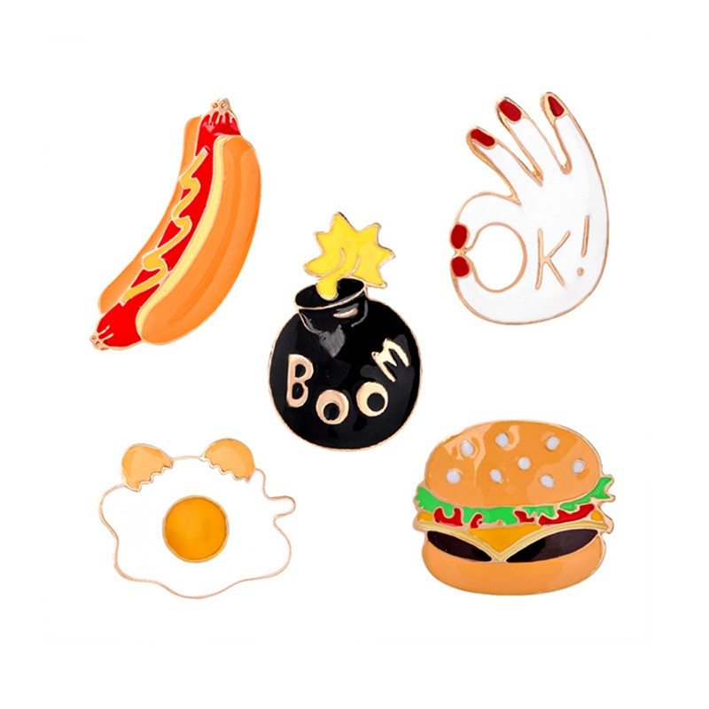 5 Pcs Women's Funny Brooches Set - XS124
