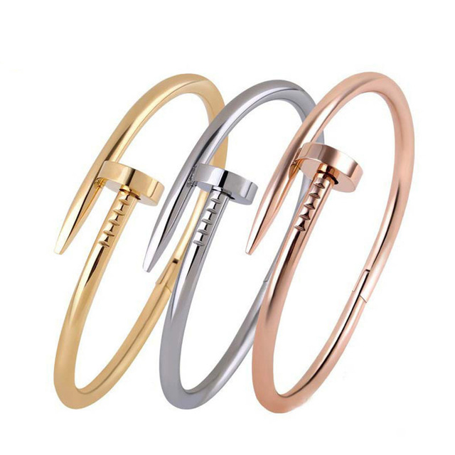Fashion New Screw Nail Cuff Bracelets & Bangles Female Stainless Steel Carter Lo