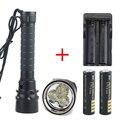 6000Lm 100m Diving 3x CREE XM-L XML U2 LED Flashlight Scuba Torch Waterproof Light & 2x18650 4000MAH Battery + Charger