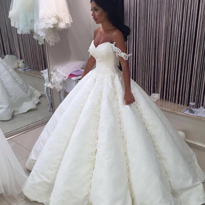 Luxury Big Ball Gown Dubai Lace Ball Gown Wedding Dresses with Beads ...