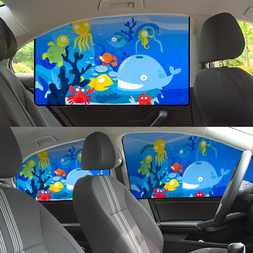 Car Cartoon Baby Children Magnetic Car Cover Sunshade Curtain Window Sun Visor Protector Universal Cute