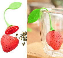10Pcs lovely Reuseable Foof safe Silicone Red Strawberry Shape Tea Leaf Bag Holder Tea Coffee Punch Filter Tea Infuser B02-1(China)