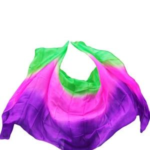 Image 4 - New style Belly dance veils 100% silk veils handmade gradual color veils can be customized