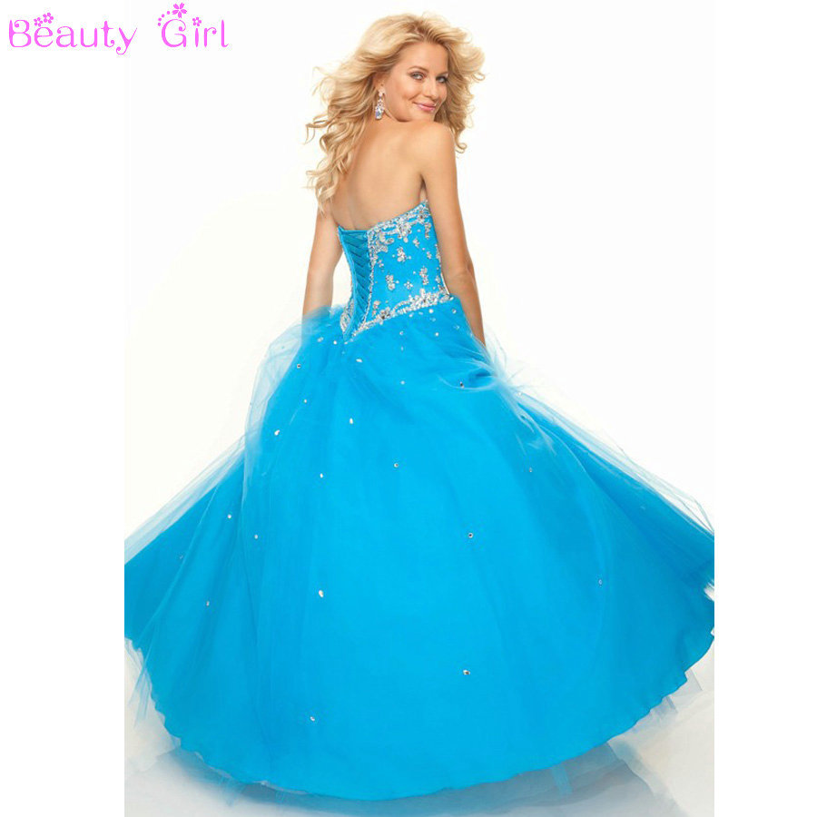 Yellow Blue Red Tulle Ball Gown Corset Prom Dresses Long ...