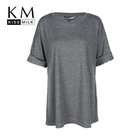 Kissmilk Plus Size Women Clothing Casual Solid Loose Top Tees O Neck Slim Basic T Shirt