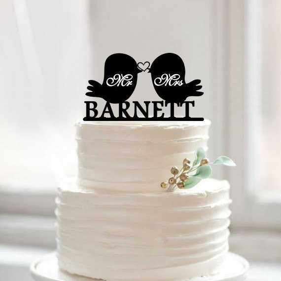 Love Birds Cake Topper, Custom Mr and Mrs Last Name Toppers, Rustic ...