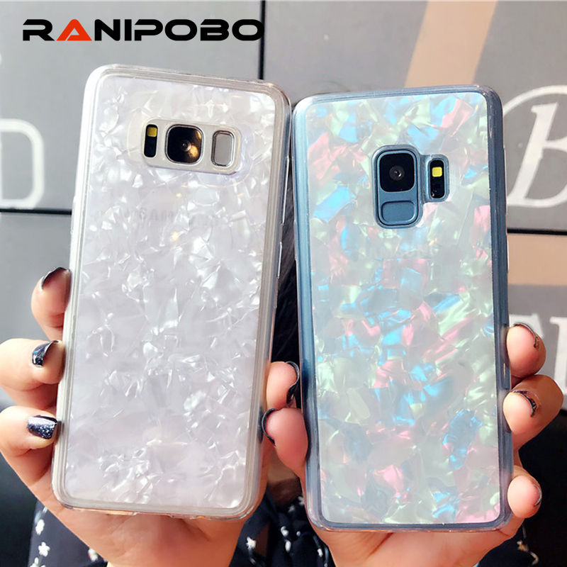 Shining Conch Shell Phone Case For Samsung Galaxy S8 S8Plus S9 S9Plus Note 8 Solid Color Epoxy Soft TPU Phone Back Cover Cases