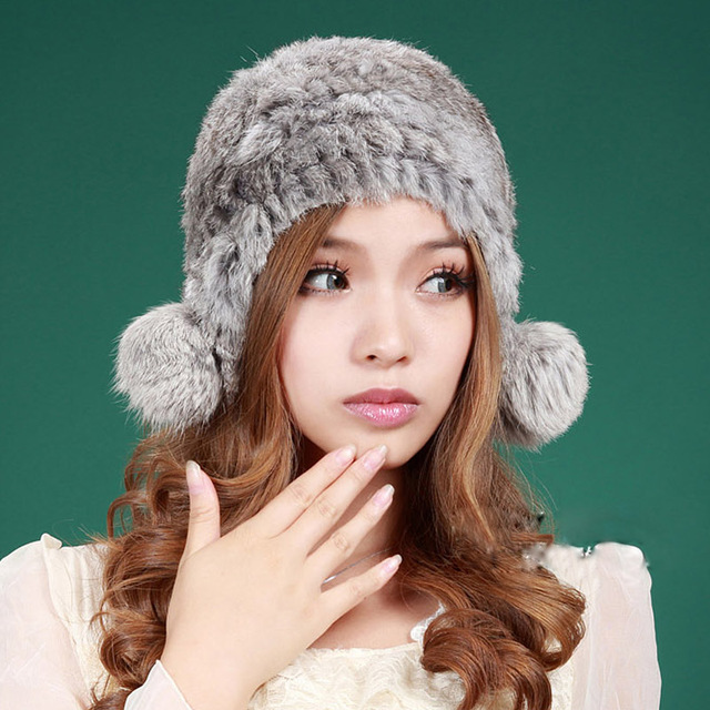 CDH021 2015 New Item Fashion Knitted Rabbit Fur Winter Cap With Earflap Real fur hat women
