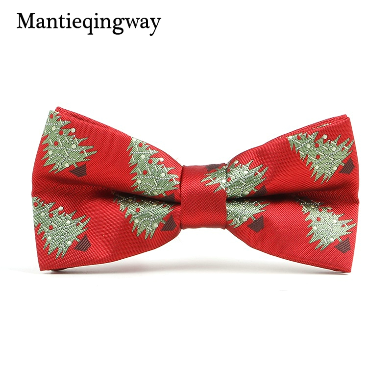 Mantieqingway New Arrivals Mens Christmas Bow Tie Gravatas Corbatas Slim Of Vestidos Polyester Santa Claus Bowties For Men Gifts