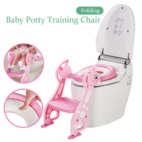 Toilet Seat Folding Potty Trainer Chair Step with Adjustable Ladder infant potty for children Baby foot stool