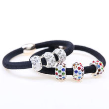 1PC Elastic Hair Bands with Three Rhinestones Ball Rubber Band Lovely Gift for Women Girl Hair Accessories(China)