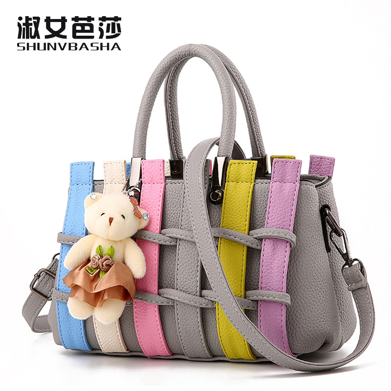 Famous brand Colorful Candy Color Women Bags Shoulder Bag With Bear Fashion Striped Cute Girls Messenger Rainbow