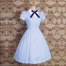 Платье в стиле Лолиты; платье принцессы в стиле Лолиты; Хлопковое платье с короткими рукавами; платье с отворотом в духе колледжа; простое платье с короткими рукавами