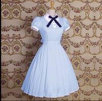 Lolita dress Princess Lolita Dress Cotton short sleeved dressCollege Wind lapel simple short sleeved dress