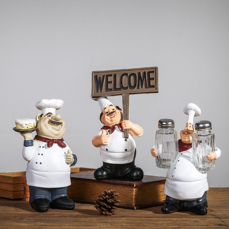 Chef Resin Crafts Classic Residence Decor Chef Furnishing Ornaments Artesanato Figurine ornament Prepare dinner Kitchen Restaurant Bar Cafe Collectible figurines & Miniatures, Low cost Collectible figurines & Miniatures, Chef...