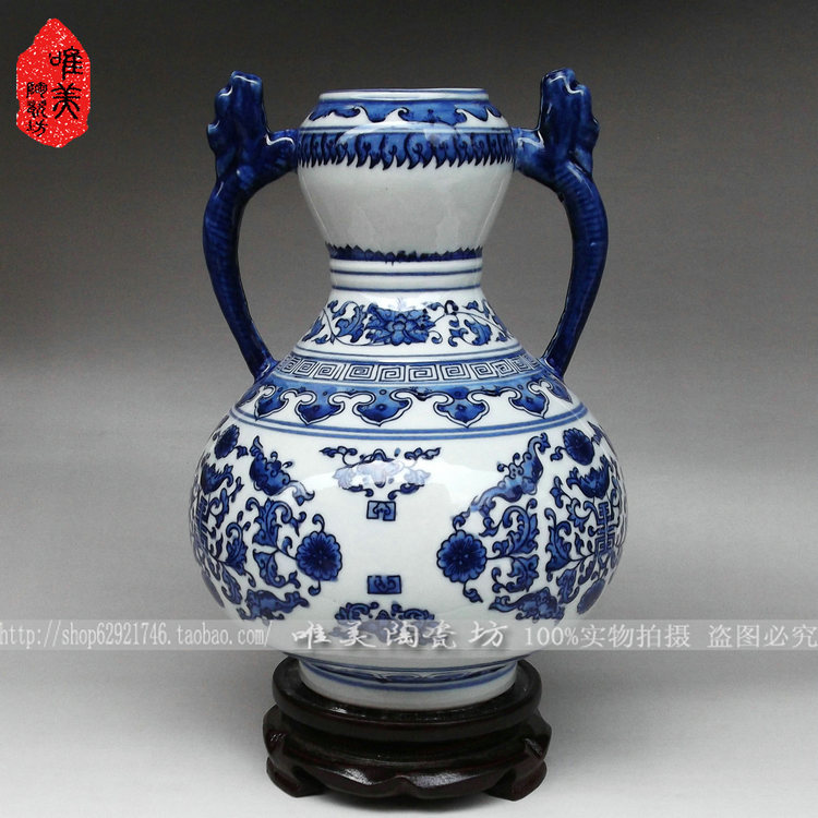 Jingdezhen ceramic blue and white porcelain antique vase rich rattan ceramic home craftsJingdezhen ceramic blue and white porcelain antique vase rich rattan ceramic home crafts