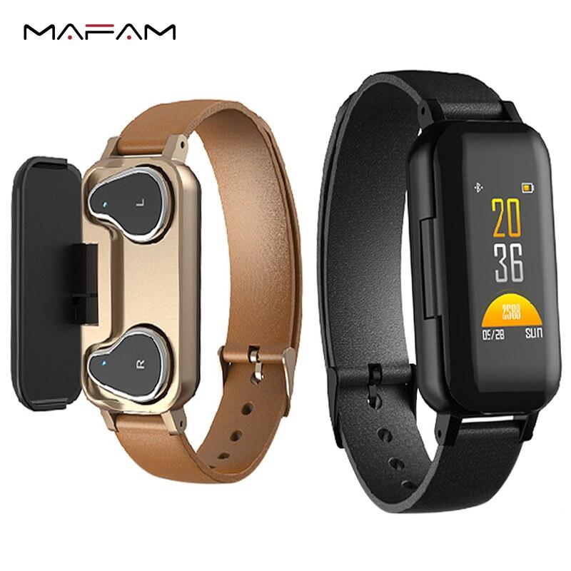 MAFAM T89 Smart Business man Dual Bluetooth Headphone Fitness Bracelet Heart Rate Monitor Smart Wristband Sport WatchMAFAM T89 Smart Business man Dual Bluetooth Headphone Fitness Bracelet Heart Rate Monitor Smart Wristband Sport Watch