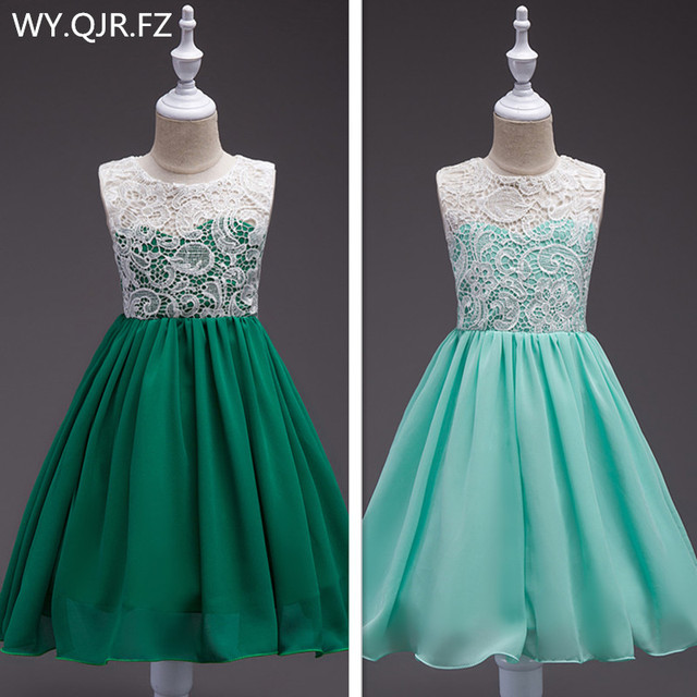 BH560 # פרח ילדה שמלות ירוק אירופאי אמריקאי חתונה מסיבת נשף שיפון תלבושות פרח ילד של נסיכת שמלה סיטונאי
